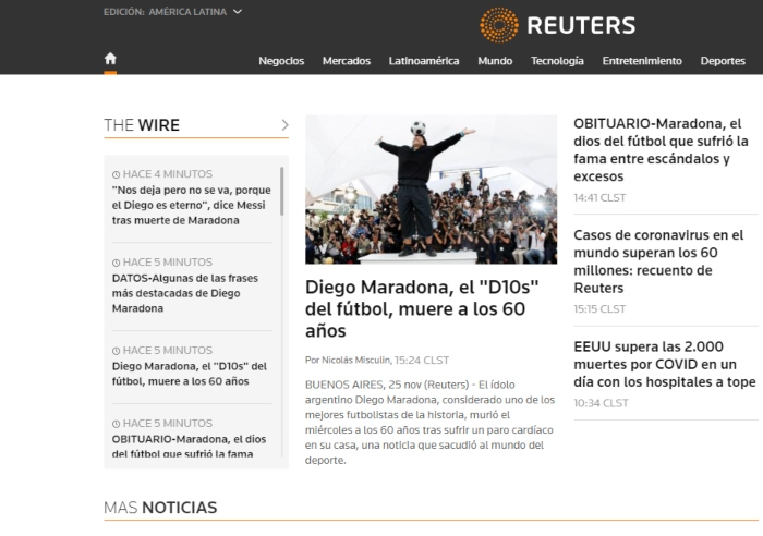 """reuters latam - La muerte de Maradona, """"la leyenda del futbol"""", acapara las portadas de los medios del mundo"""