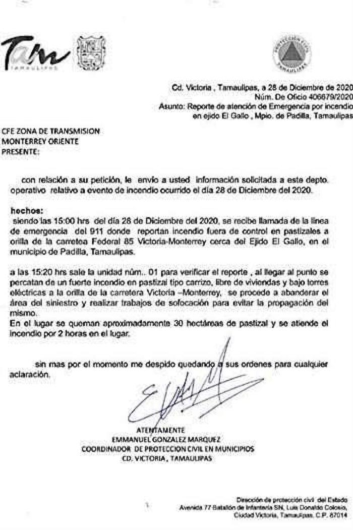 oficio - Tamaulipas desconoce oficio que la CFE presentó sobre el incendio que generó apagón en México