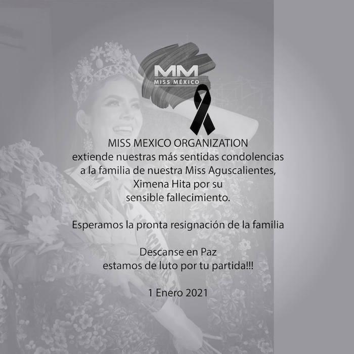 1 - Organización confirma la muerte de la modelo Ximena Hita, quien fue Miss Aguascalientes en 2020