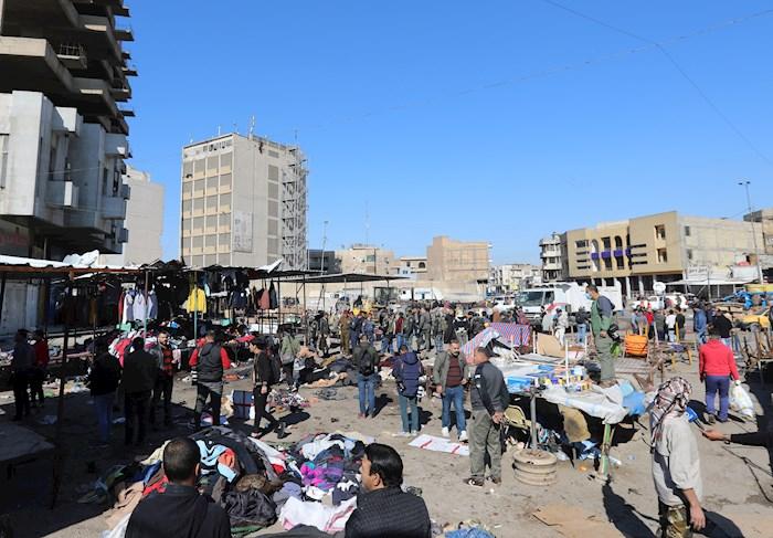 """ataque terrorista bagdad - Dos se hacen explotar en mercado de Bagdad y dejan 28 muertos; es un """"ataque terrorista suicida"""": autoridades"""