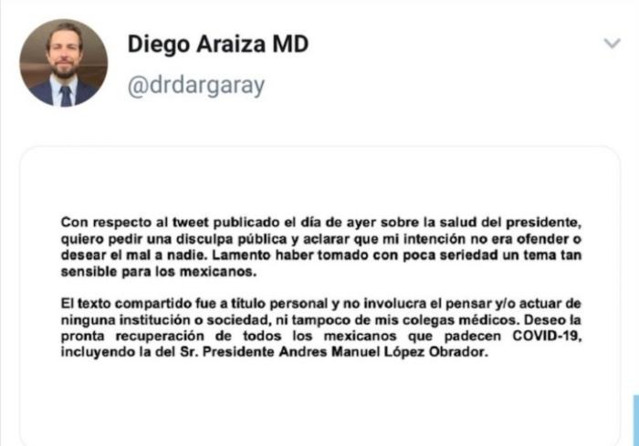 tuit doc 2 - Sociedad Europea de Cardiología expulsa al médico que deseó una trombosis (la muerte) para AMLO