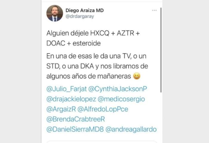 tuit doctor 1 - Sociedad Europea de Cardiología expulsa al médico que deseó una trombosis (la muerte) para AMLO