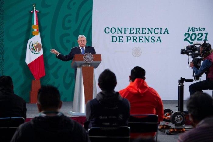 El Presidente Andrés Manuel López Obrador en su conferencia matutina de este viernes.