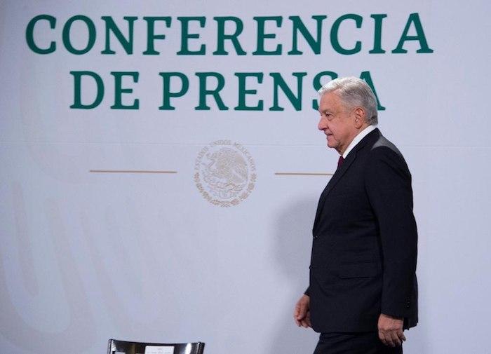 El Presidente de México a su arribo al Salón Tesorería de Palacio Nacional.
