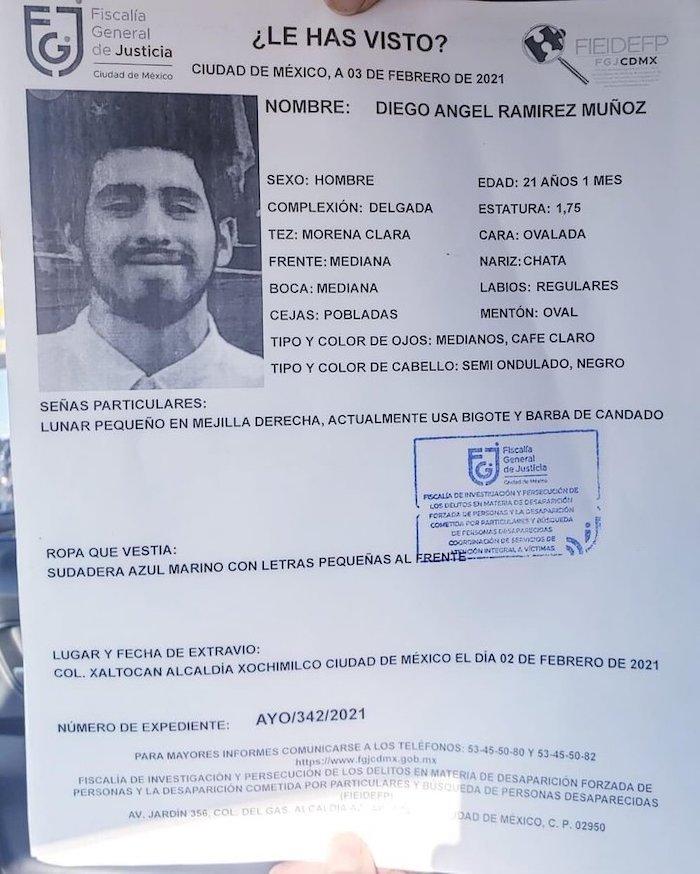 etvd785vkaaef0y - Diego, estudiante de la UNAM, es hallado sin vida en Xochimilco, CdMx; tenía 3 días desaparecido