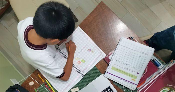 Un niño realiza las tareas de sus clases a distancia por la pandemia.