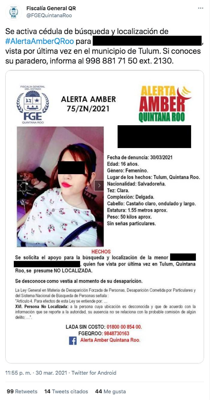 Ficha de búsqueda que compartió la Fiscalía de Quintana Roo para poder hallar a la hija mayor de la migrante salvadoreña.