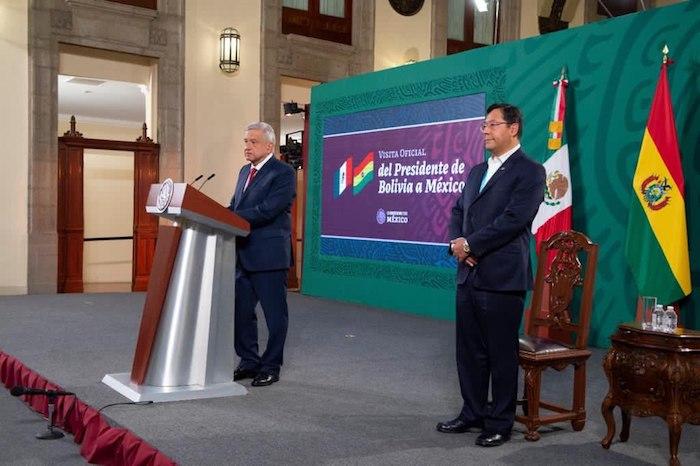 Los presidentes de México y Bolivia en Palacio Nacional.