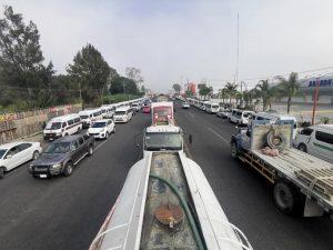 Foto de la manifestacion de transportistas en Chiapas