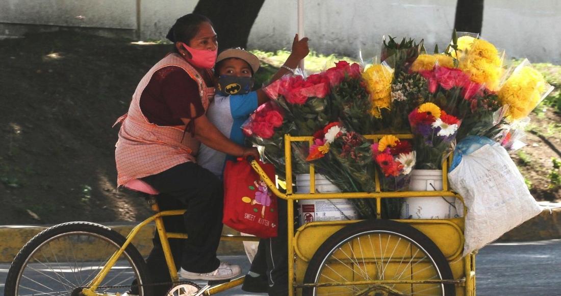 mujer vendedora flores nino bicicleta triciclo - La ONU propone un salario básico temporal para mujeres en países en desarrollo y evitar la pobreza