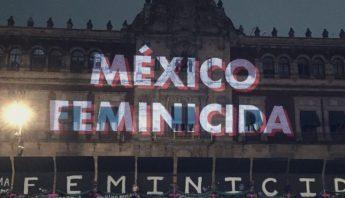 Proyeccion Mexico feminicida en Palacio Nacional