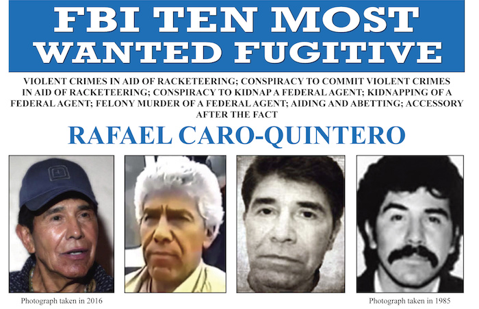 Esta imagen publicada por el FBI muestra el cartel de búsqueda del capo mexicano Rafael Caro Quintero, acusado de asesinar al agente de la DEA Enrique Camarena en 1985.