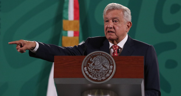 El Presidente Andrés Manuel López Obrador en conferencia.