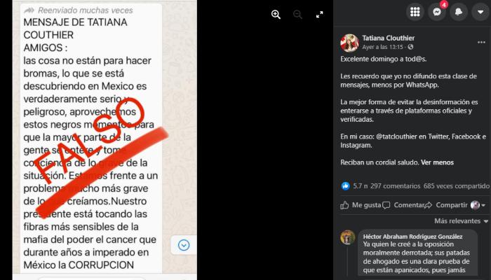 mensaje falso 1 - Tatiana Clouthier desmiente cadena de WhatsApp que pide apoyar a AMLO
