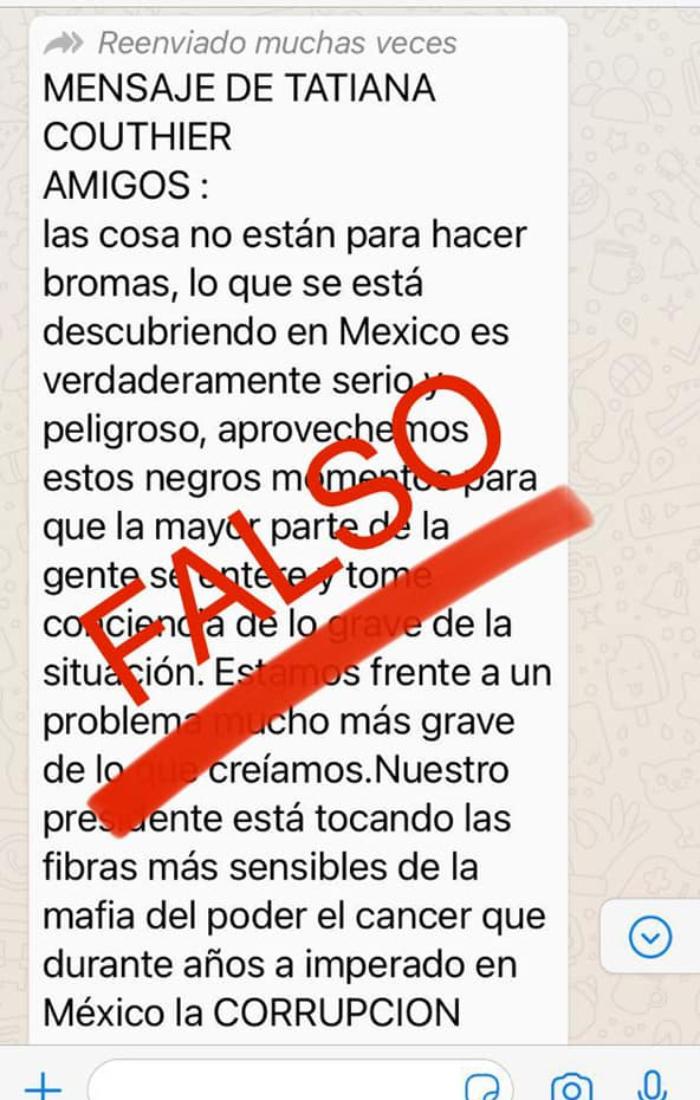 mensaje falso - Tatiana Clouthier desmiente cadena de WhatsApp que pide apoyar a AMLO