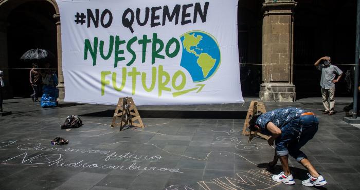 Performance sobre el cambio climático en la Ciudad de México.
