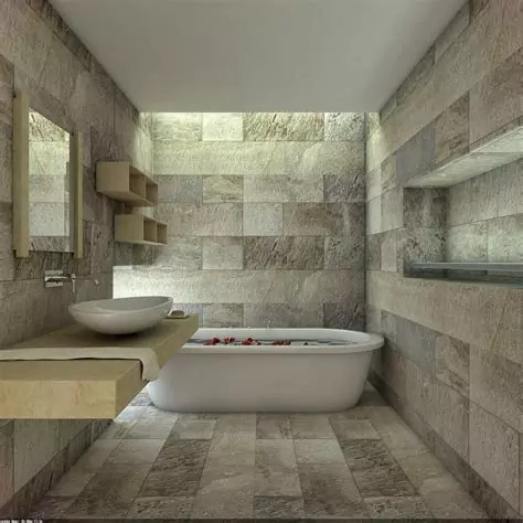 contoh desain kamar mandi batu alam renovasi rumahnet