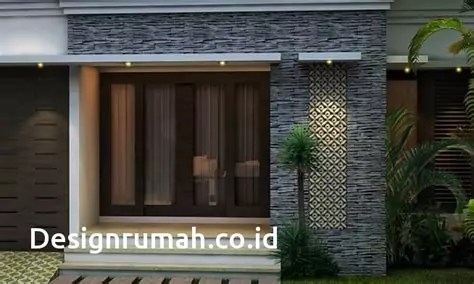 desain rumah bagian depan batu alam