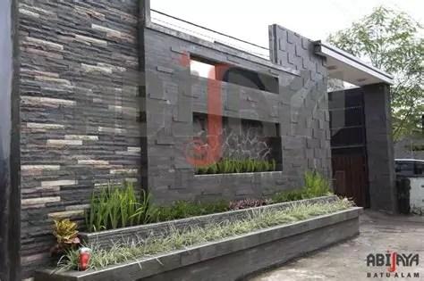 model desain pagar rumah minimalis batu alam unik