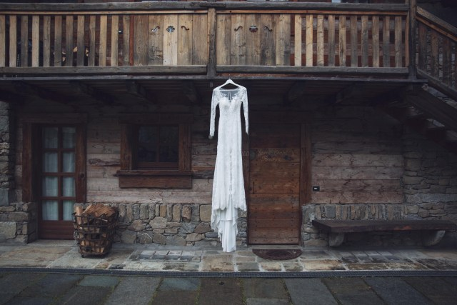 Wedding dress on the montains