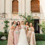 Bride with bridesmaids, wedding on Garda lake