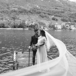Bride and groom on come lake, white and black picture