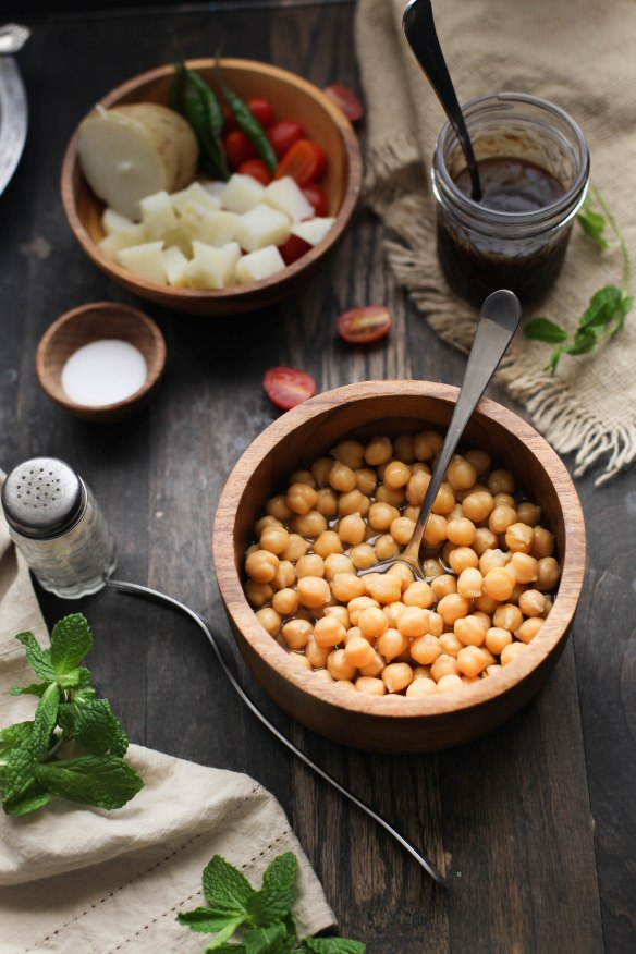 Sinfully Spicy- Ingredients, Warm Chickpea Chaat/Indian Salad 002