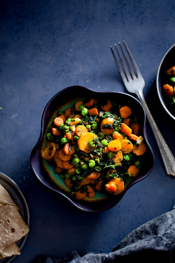 Sinfully Spicy - Gajar Methi Matar (Carrots, Peas & Fenugreek Stirfry)