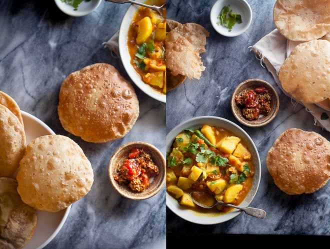 Sinfully Spicy : Aloo Jhol Poori (Spicy Potatoes & Fried puffed bread)