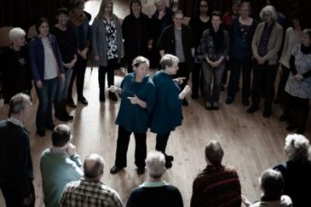 Ali Burns and Jennie fisk teaching singing workshop