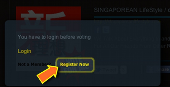 Singapore Blog Awards 2012 Vote For SINGAPOREANLifeStyle - register with omy.sg