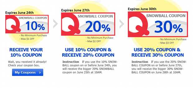 Qoo10 Singapore SnowBall Coupon Event
