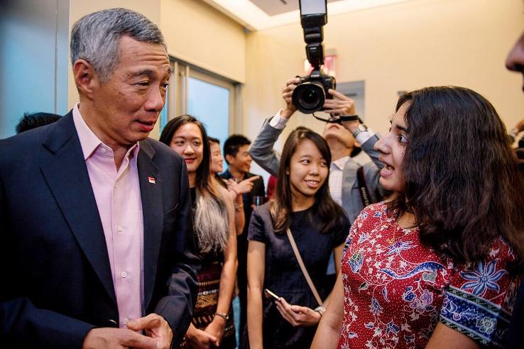 Sharmista with Singapore's Prime Minister Lee