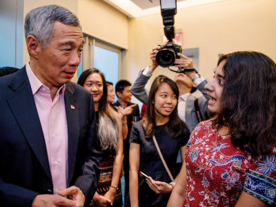 Sharmista with Singapore's Prime Minister Lee