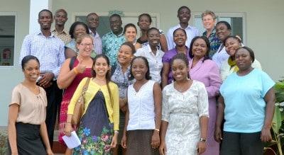 Singapore Math teacher, trainer and consultant Cassandra Turner with teachers at the Association International School