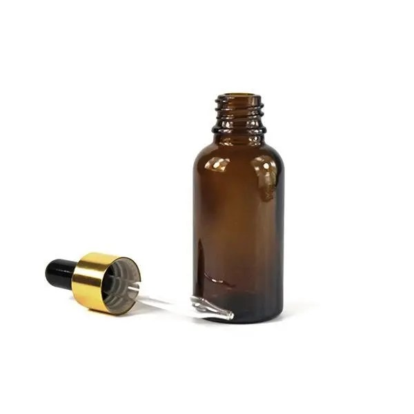 15ml Amber Glass Bottle with Glass Eye Dropper with golden cap (0.5 oz)