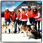 Husky sled rides on top of a Glacier, Juneau, Alaska.