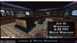 6:30pm PT WRITER WORKSHOP on 3DWebWorldz.com @ https://3dwebworldz.com