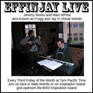 7pm PT, Effinjay at Inspiration Island, hosted by SingerGirl @ grid.opensim.life:8002:Inspiration Island