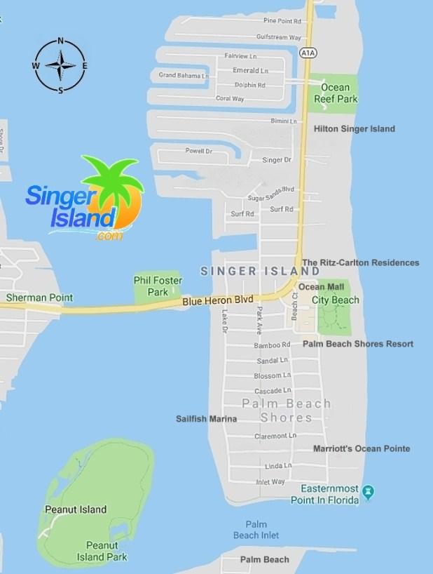 Map Of Singer Island Florida Map of Singer Island Florida   Singer Island Map   SingerIsland.com