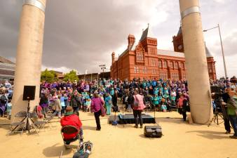 Sing for Water Cardiff 2015 - Setting up for the performance