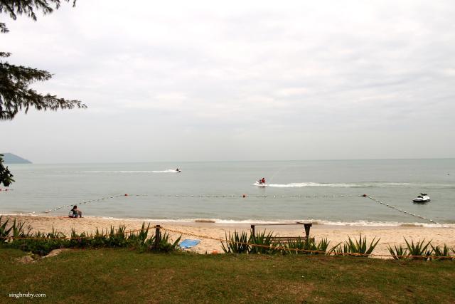 The beach view.