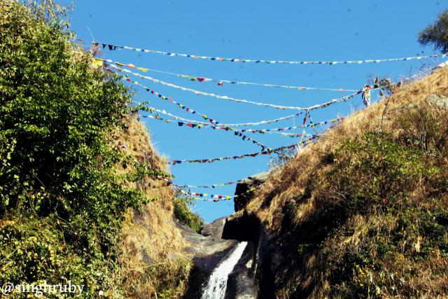 Flags at Bhagsu Fall.