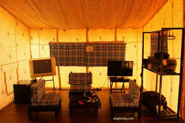 Seating area in my tent at Festa De Diu