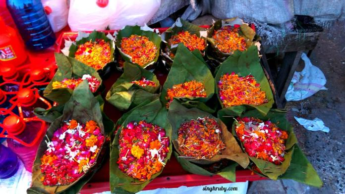 Flowers ready to take a dip in holy Ganges.