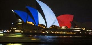 sydney opera house red white blue