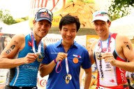Kenneth Cobonpue with the half-Ironman champs.