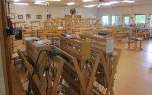 The weaving studio had so many looms, all ready for students!