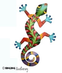 Colorful Gecko wall art. Handmade, Fair Trade Haiti