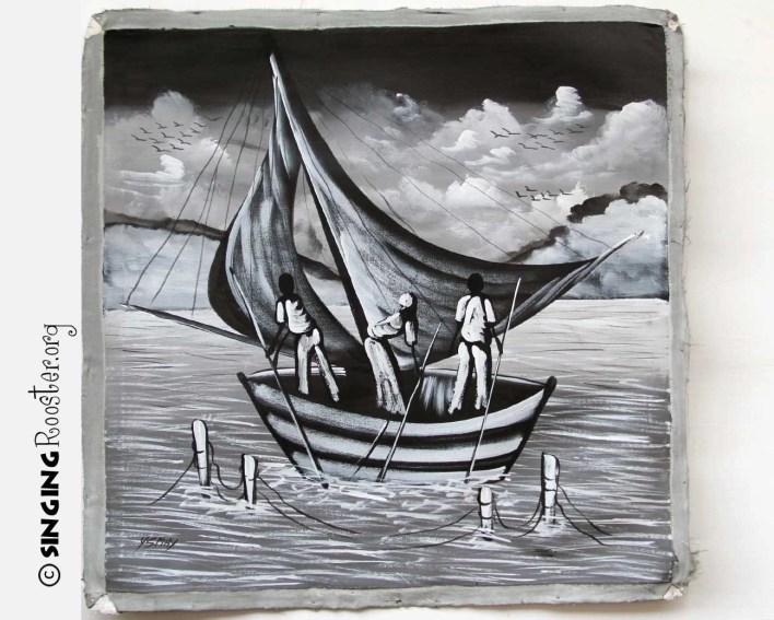 buy Haitian paintings online, fishing